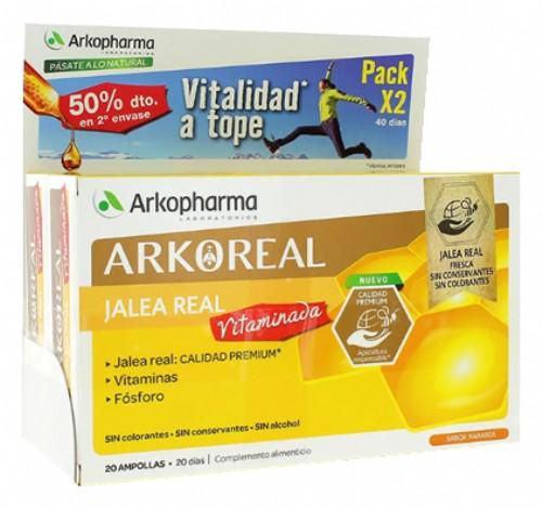 JALEA REAL VITAMINADA ARKOREAL 500MG ARKOPHARMA PACK 2X20 AMPOLLAS DE 15ML