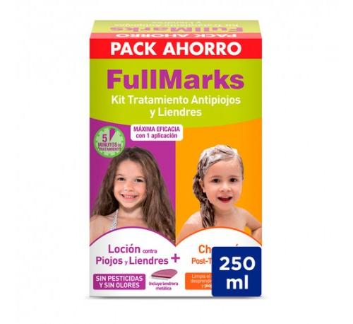 Fullmarks kit tratamiento champú post + Loción y liendrera