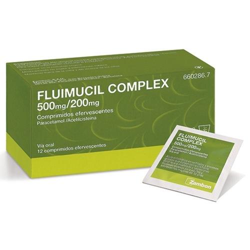 FLUIMUCIL COMPLEX 500 mg/200 mg COMPRIMIDOS EFERVESCENTES , 12 comprimidos