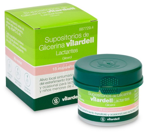 SUPOSITORIOS DE GLICERINA VILARDELL LACTANTES, 15 supositorios