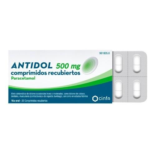 ANTIDOL  500 mg COMPRIMIDOS RECUBIERTOS , 20 comprimidos