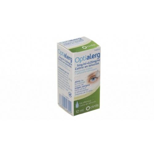 OPTIALERG 5 MG/ML + 0,25 MG/ML COLIRIO EN SOLUCION, 1 frasco de 10 ml