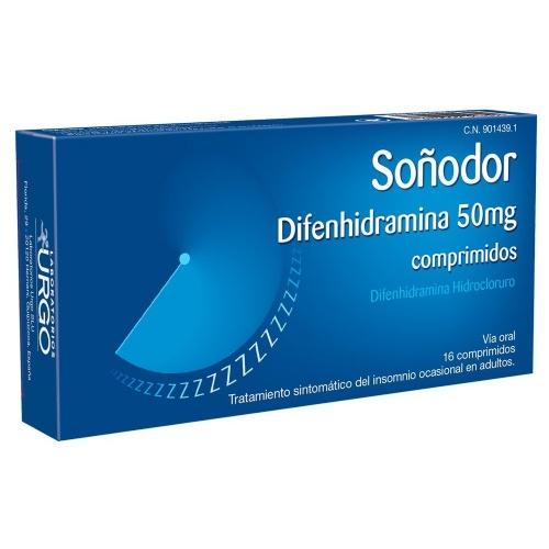 SOÑODOR DIFENHIDRAMINA 50 mg COMPRIMIDOS , 16 comprimidos